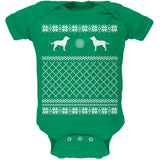 Chocolate Lab Ugly Christmas Sweater Kelly Green Soft Baby One Piece