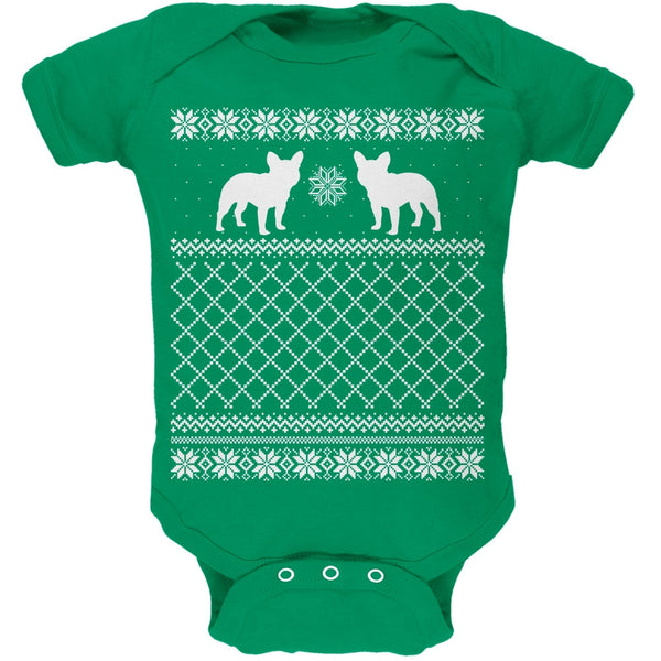 French Bulldog Ugly Christmas Sweater Kelly Green Soft Baby One Piece