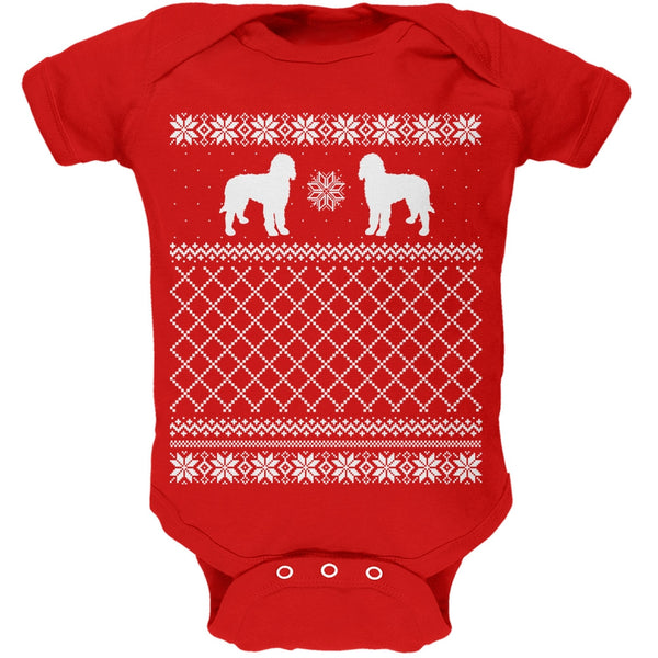 Goldendoodle Ugly Christmas Sweater Kelly Green Soft Baby One Piece