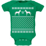 Jack Russell Ugly Christmas Sweater Kelly Green Soft Baby One Piece