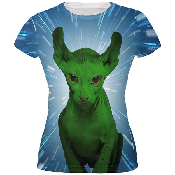 Ugly Hairless Cat of the Force All Over Juniors T-Shirt