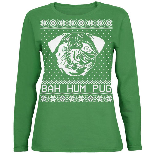 Christmas Bah Hum Pug Green Womens Long Sleeve T-Shirt