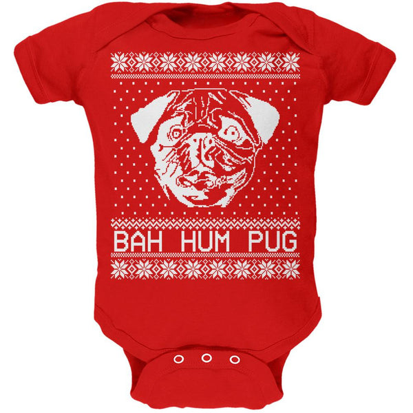Christmas Bah Hum Pug Kelly Green Soft Baby One Piece