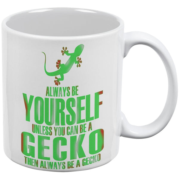 Always Be Yourself Gecko White All Over Coffee Mug Set of 2