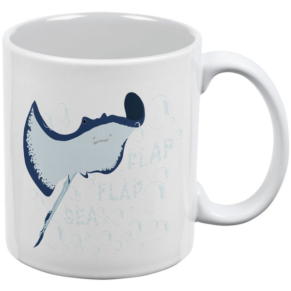 Sea Flap Flap Stingray White All Over Coffee Mug
