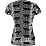 Let The Cat In Out All Over Juniors T-Shirt