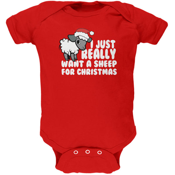 I Just Really Want a Sheep For Christmas Soft Baby One Piece
