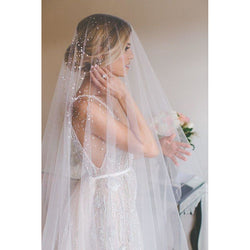 2019 Beaded Bridal Veil - SALE LAB