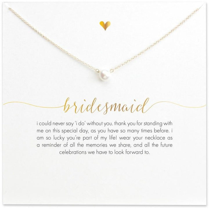 Bridesmaid Pearl Necklace with Card - SALE LAB
