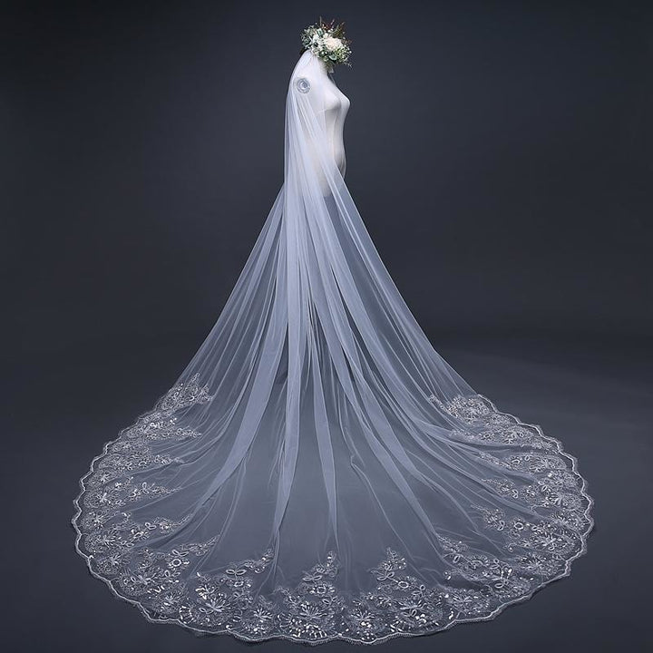 3 Meters Sparkling Veil with Comb - SALE LAB