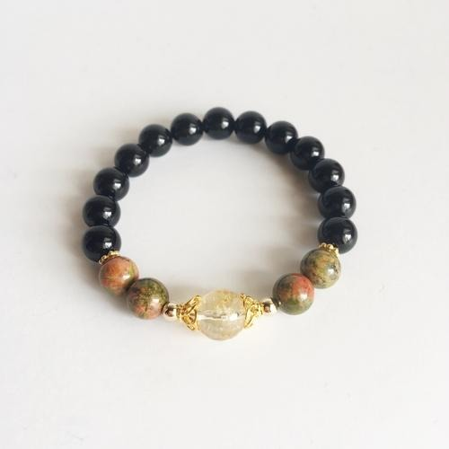 Staying Balanced ~ Black Onyx, Citrine and Unakite - SALE LAB