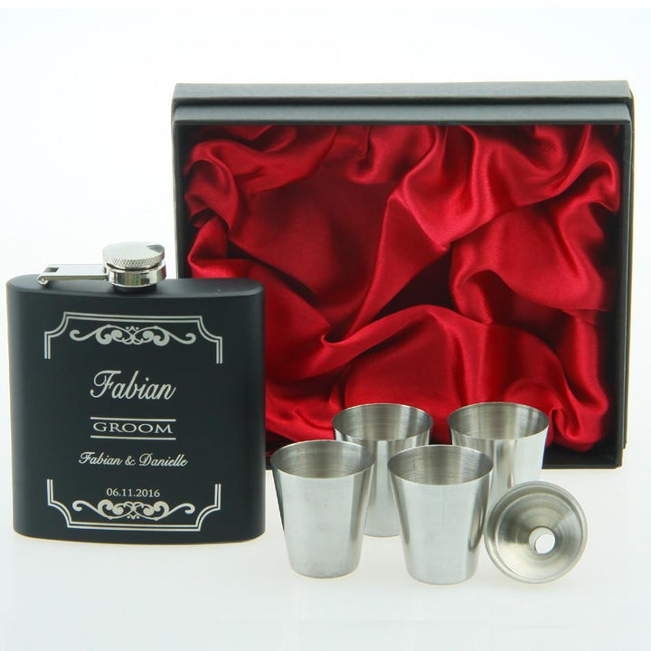 Personalized flask with 4 cups funnel - SALE LAB