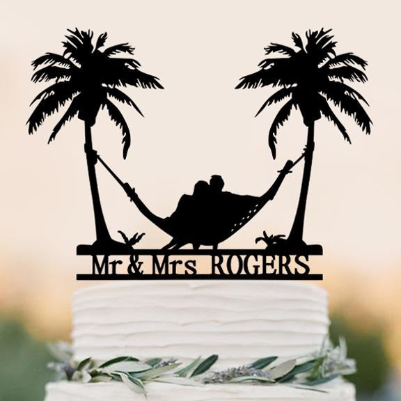 Beach Theme Wedding Cake Topper - SALE LAB