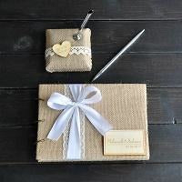 Custom Burlap Guestbook - SALE LAB