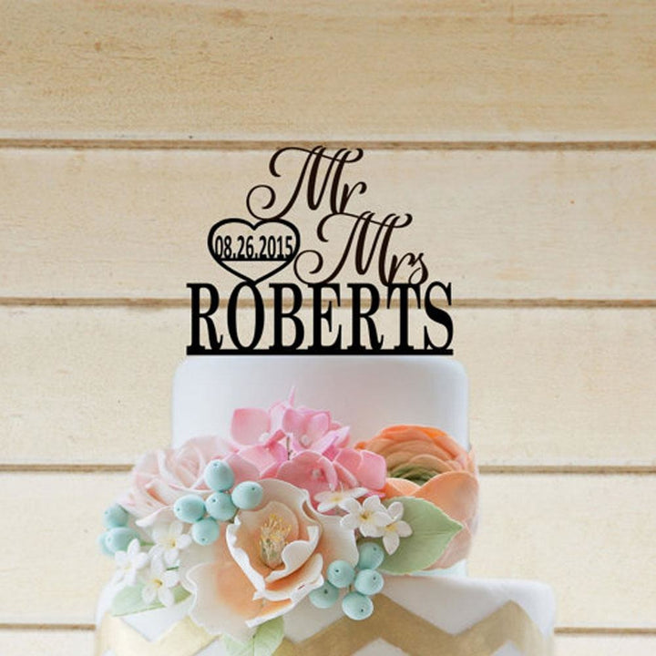 Mr & Mrs Heart Cake Topper - SALE LAB