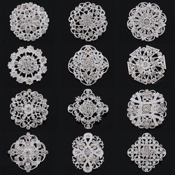 12 Pcs Crystal Rhinestone Brooches - SALE LAB
