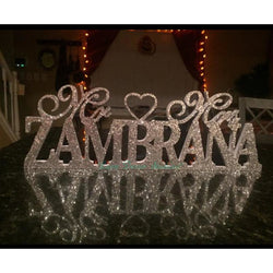 Silver Sparkling Mr & Mrs With Last Name Sign - SALE LAB