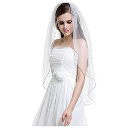 Beaded Edge Tulle Veil - SALE LAB