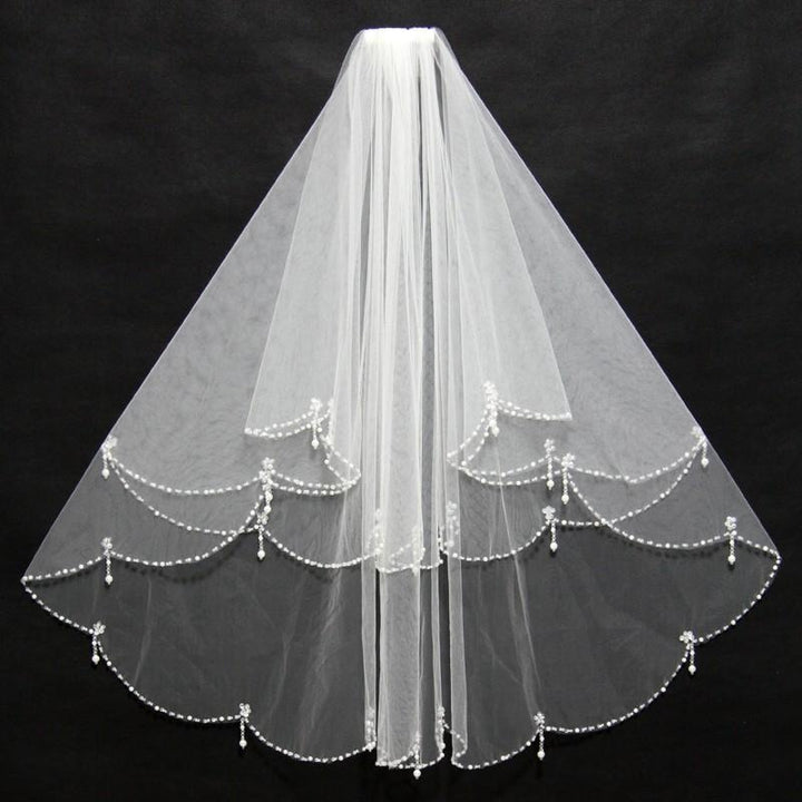 Beaded Edge Two Layers Veil - SALE LAB