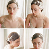Birdcage Veil with Flowers - SALE LAB