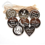 50 Pcs Personalized Engraved Heart Favor with Gifts Tags - SALE LAB