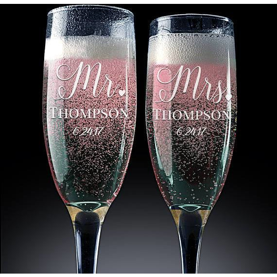 Set of 2 Personalized Champagne Flutes - SALE LAB