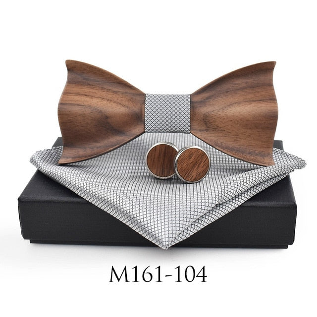 Wooden Tie &  Square Cufflinks - SALE LAB