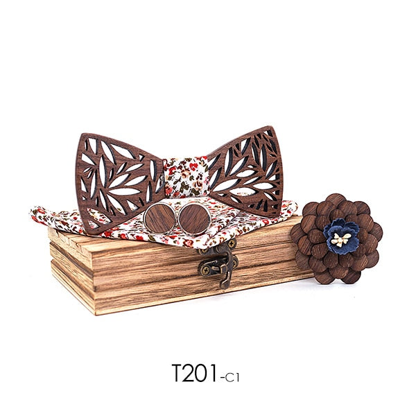 Paisley Wooden Bow Tie Handkerchief Set - SALE LAB
