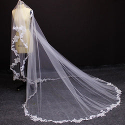 One Layer 3 Meters Lace Appliques Veil - SALE LAB
