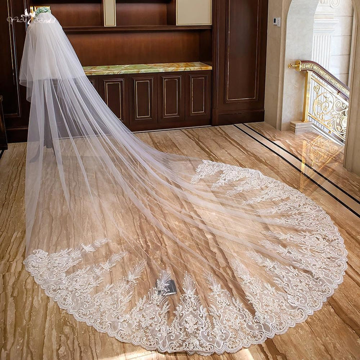 4 Meters Two Layer Cathedral Wedding Veil - SALE LAB