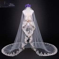 One Layer Lace Edge Cathedral Veil - SALE LAB