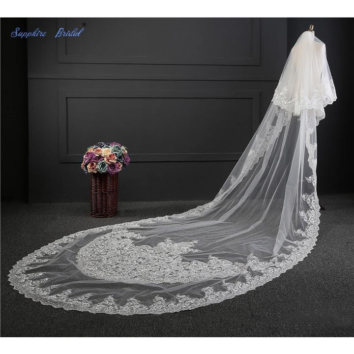 Sapphire Bridal Luxury Lace veils Long Cathedral Veil Voile Mariage With Free Comb - SALE LAB
