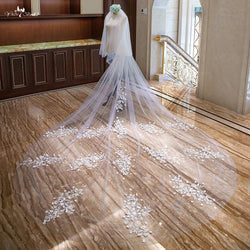 4 Meters Lace Flowers Bridal Veil - SALE LAB