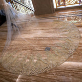 3.5 Meter Gold Wavy Pattern Veil - SALE LAB