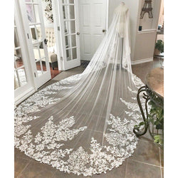 Beautiful Cathedral Length Lace Edge Veil - SALE LAB