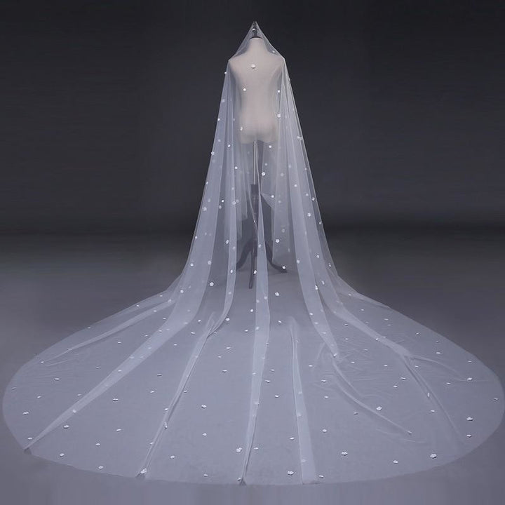 One Layer Floral Wedding Veil - SALE LAB