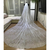 Glitter Cut Edge Wedding Veil With Comb - SALE LAB