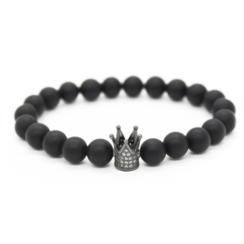 Positiboclothing King And Queen Crowns Stone Bracelets