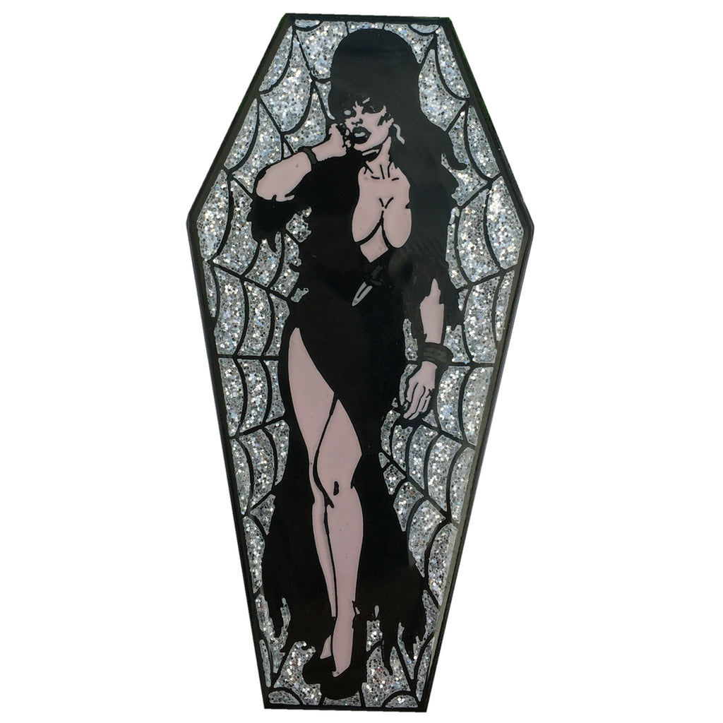 Elvira Coffin Silver Glitter Pin