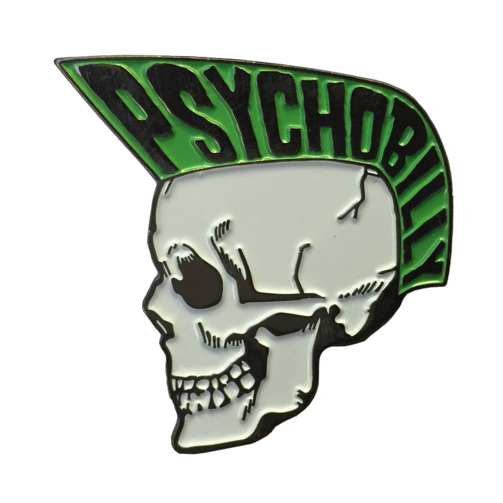 Psycho Skull Boy Green Enamel Pin