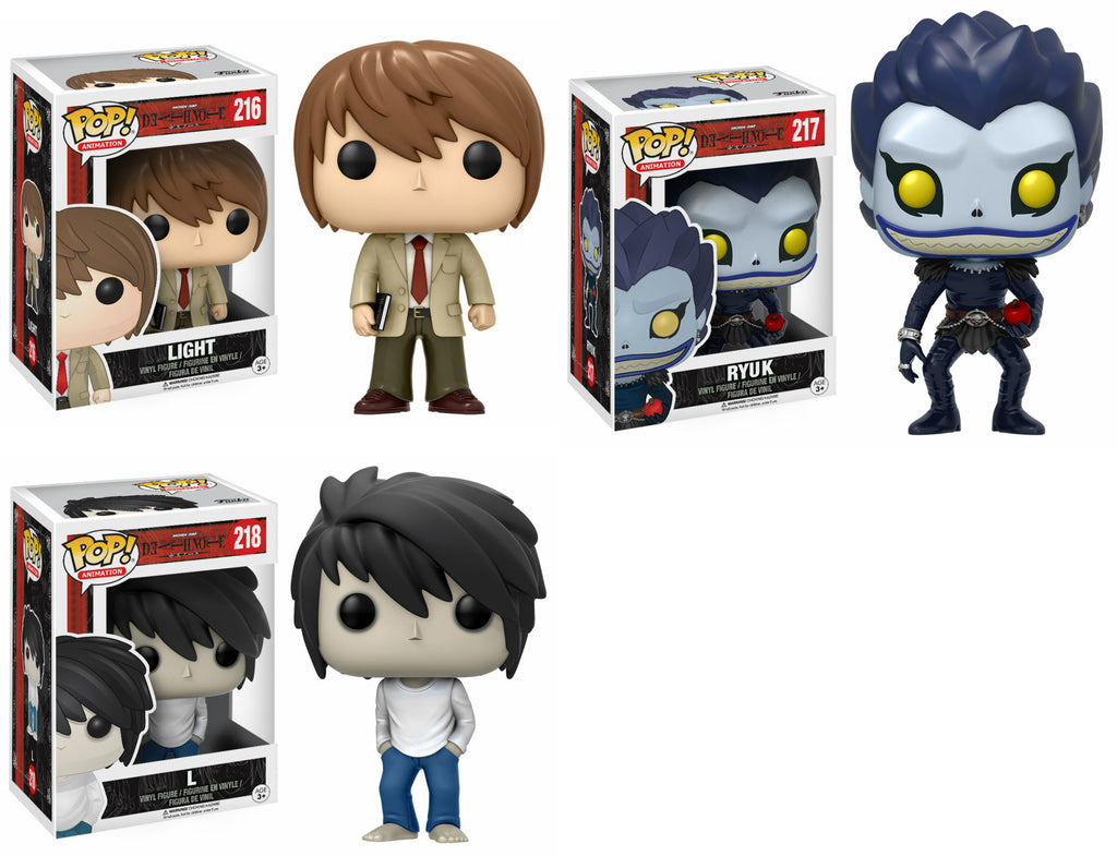 Set of 3 Funko Animation Pop! - Death Note - Light, Ryuk, and L<br>Pre-Order