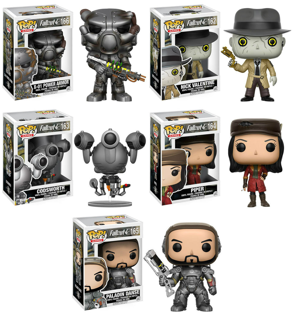 Set of 5 Funko Game Pop! Fallout 4 - Codsworth, X-01, Nick Valentine, Piper and Paladin Danse