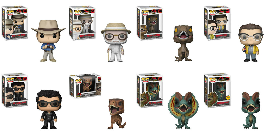 Funko Movies Pop! - Jurassic Park - Set of 8 including Chase