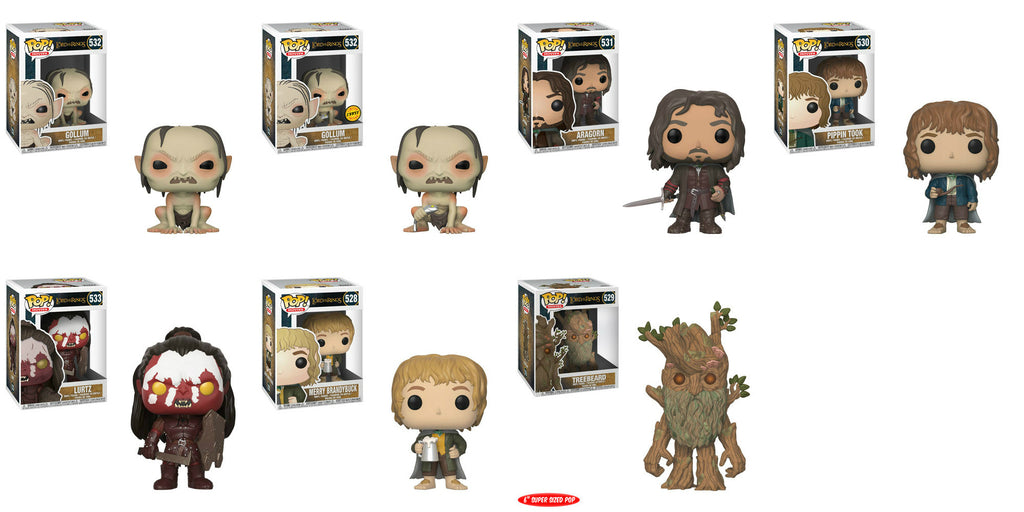 "Funko Movies Pop - Lord of the Rings - A Set of 7 w/ Chase and 6"" Treebeard"
