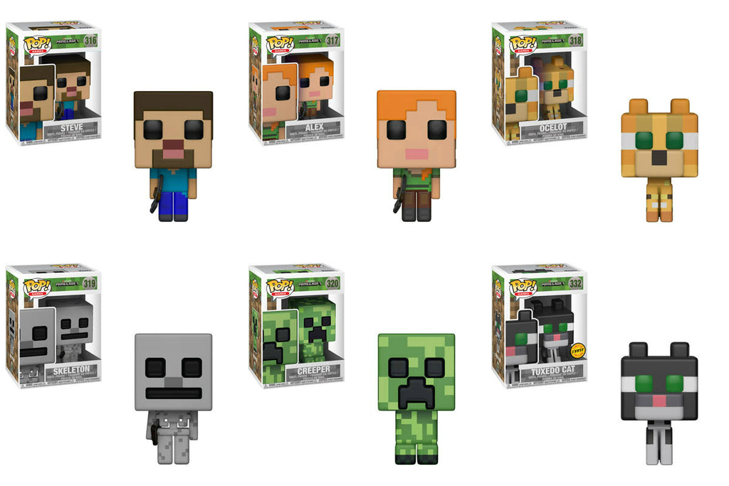 Funko Games Pop! - Minecraft  - Set of 6 w/ Chase - Pre-Order