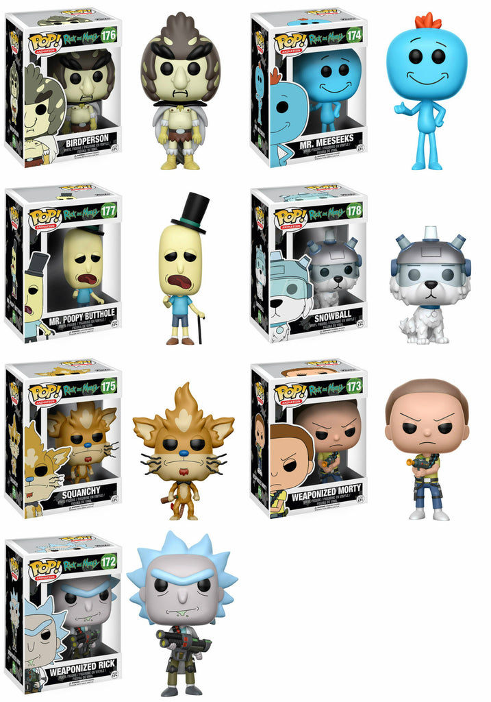Set of 7 Funko Animation Pop! Rick and Morty