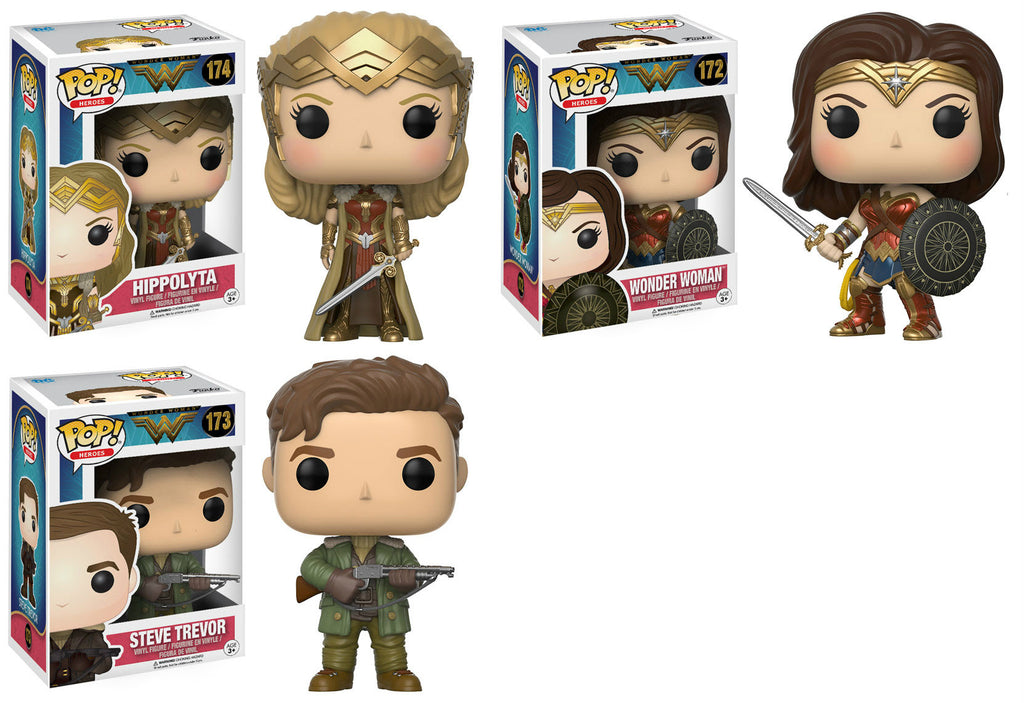 Set of 3 Funko DC Heroes Pop! Wonder Woman Movie - Steve Trevor, Hippolyta, WonderWoman