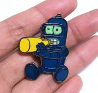 Go Home Bender You're Drunk Glow in the Dark Pin
