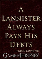 Magnet: Game of Thrones A Lannister Always Pays His Debts