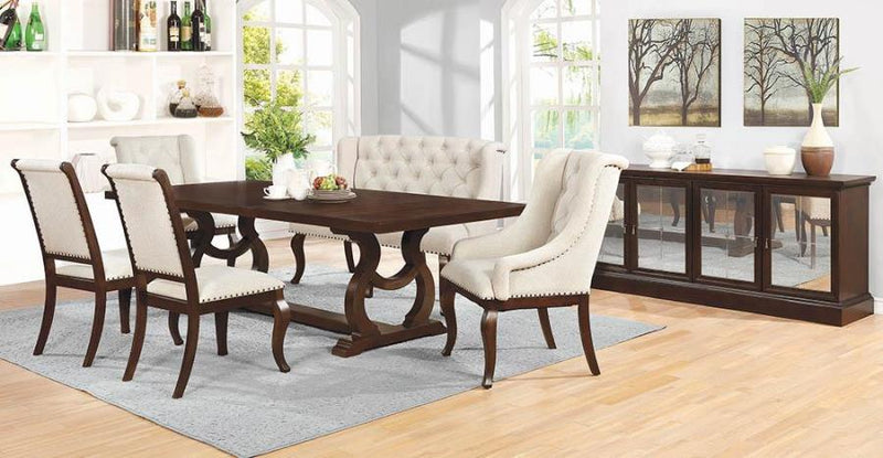 Coaster Glen Cove Antique Java Traditional Dining Table with Trestle
